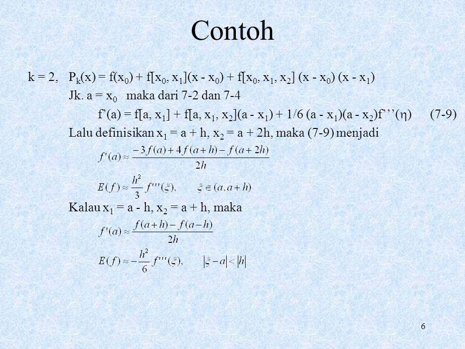 Contoh k = 2, Pk(x) = f(x0) + f[x0, x1](x - x0) + f[x0, x1, x2] (x - x0) (x - x1) Jk. a = x0 maka dari 7-2 dan 7-4.